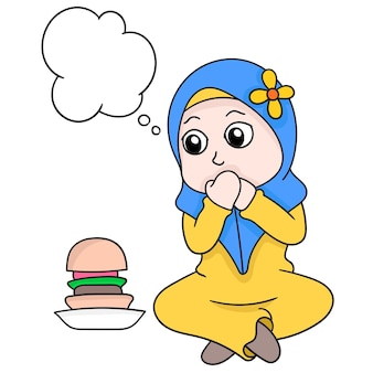 Bubble chat mooi moslim hijab meisje vasten weerstaat de verleiding van voedsel, vector illustratie kunst. doodle pictogram afbeelding kawaii.