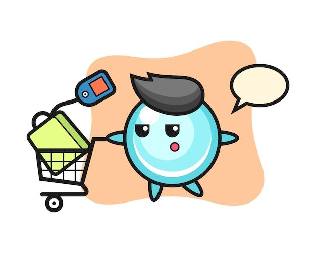 Bubble illustratie cartoon met een winkelwagentje, leuke stijl ontwerp