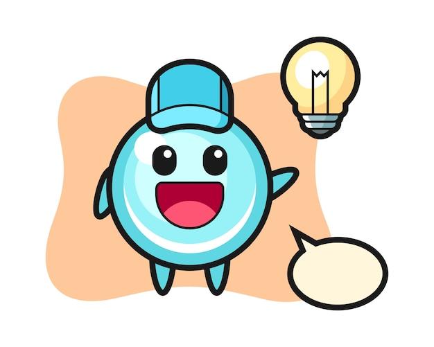 Bubble karakter cartoon krijgt het idee, schattig stijlontwerp