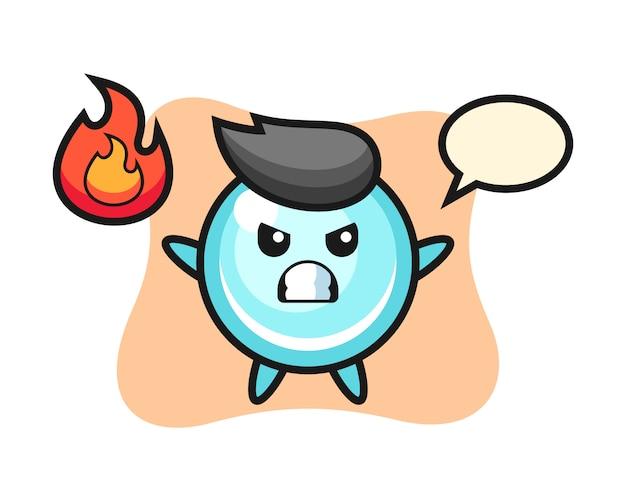 Bubble karakter cartoon met boos gebaar, schattig stijlontwerp