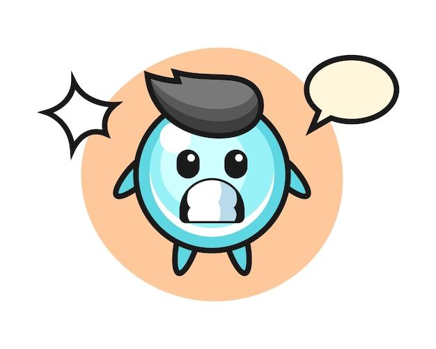 Bubble karakter cartoon met geschokt gebaar, schattig stijlontwerp