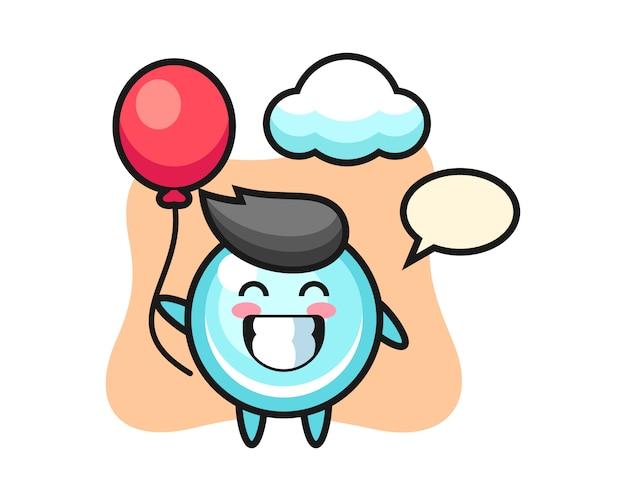 Bubble mascotte illustratie speelt ballon, schattig stijlontwerp