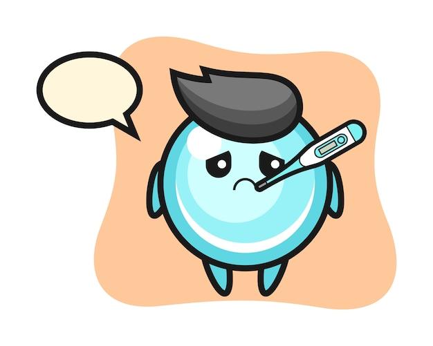 Bubble mascotte karakter met koorts, schattig stijlontwerp