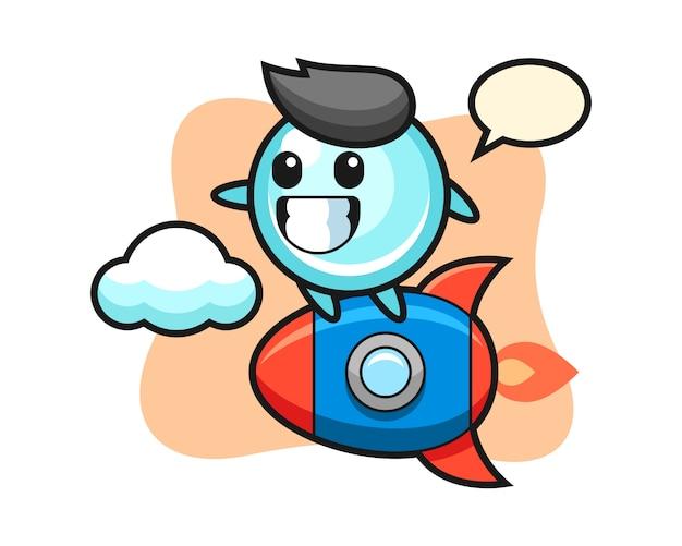 Bubble mascotte karakter rijden op een raket, schattig stijlontwerp