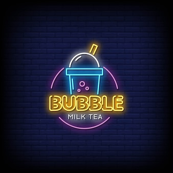 Bubble milk tea neon signs style text