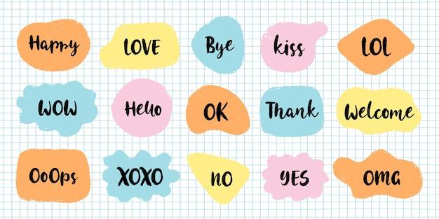 Bubble speech collection communiceren. hand getrokken doodle.