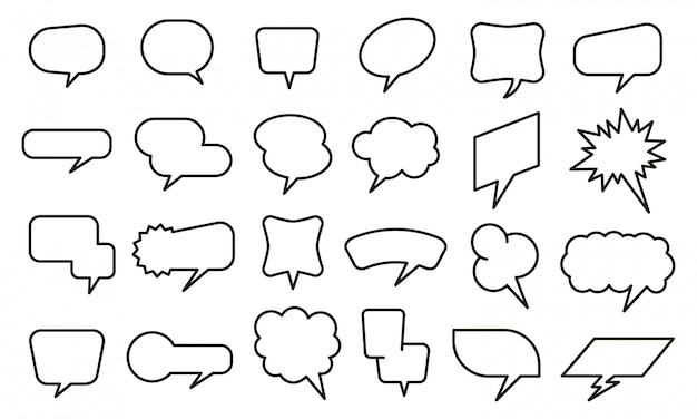 Bubble spraak sticker. lege gedachte ballonnen en tekstballon stickers, schets gesprek elementen instellen. chat en stripboekpictogrammen op witte achtergrond. dialoog wolken