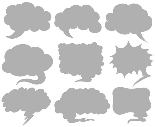 Bubble-spraaksjablonen in negen ontwerpen
