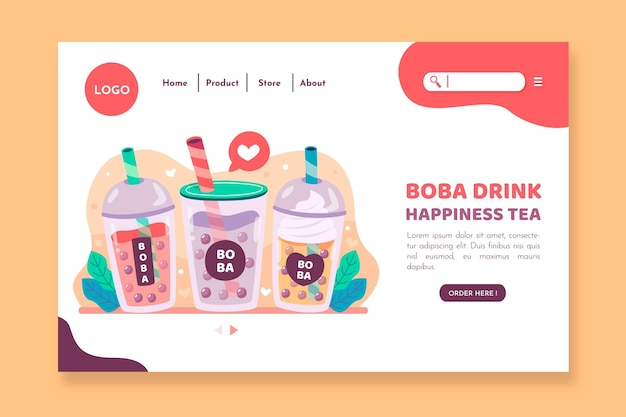 Bubble tea-bestemmingspagina-sjabloon