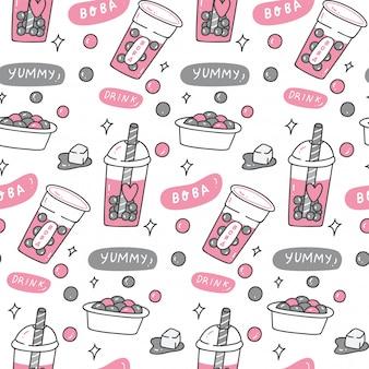 Bubble tea doodle naadloze patroon