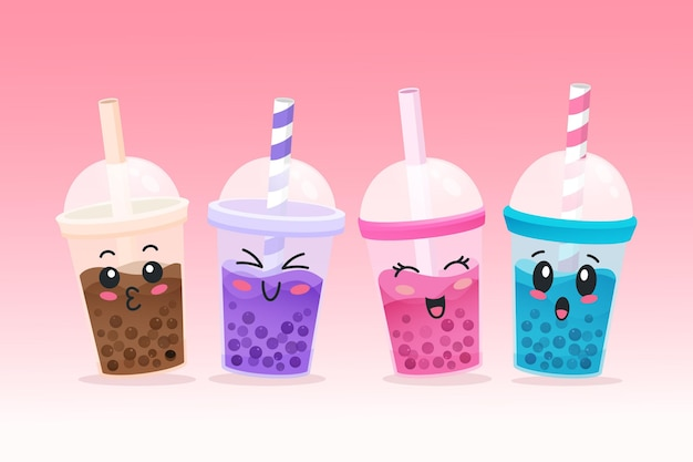 Bubble tea in kawaii-stijl