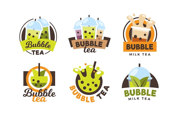 Bubble tea logo collectie