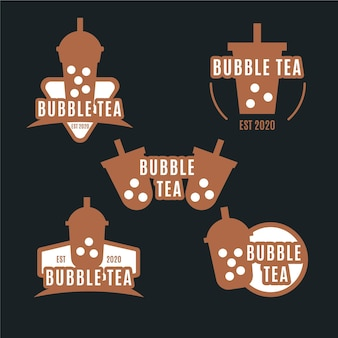 Bubble tea logo set