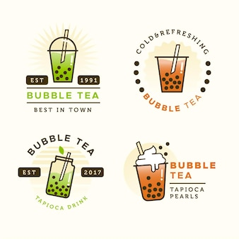 Bubble tea logo sjabloon set