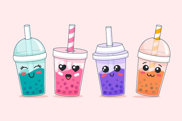 Bubble tea met kawaii design