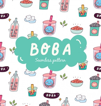 Bubble tea naadloze patroon