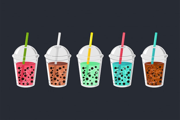 Bubble tea vector cartoon set geïsoleerd.