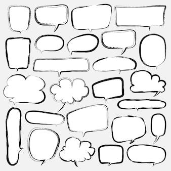 Bubbles set doodle style comic balloon. Premium Vector