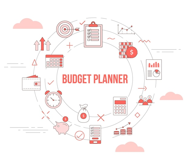 Budget planner concept met pictogrammenset sjabloon banner