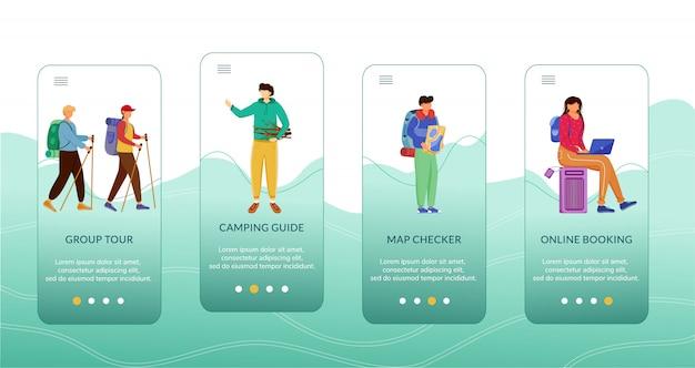 Budget toerisme onboarding mobiele app schermsjabloon. campinggids en kaartcontrole. groepsrondleiding. walkthrough website stappen met platte karakters. ux, ui, gui smartphone cartoon interface-concept