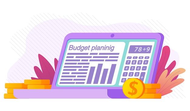 Budgetplanning financieel op laptop belastingrapport audit of investeringsanalyse spreadsheet met rapportgrafiek calculator-app om de factuur te berekenen dollarstapels gouden munten