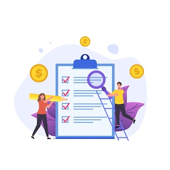 Budgetplanning, mensen die markeringen controleren en onderzoeken op document