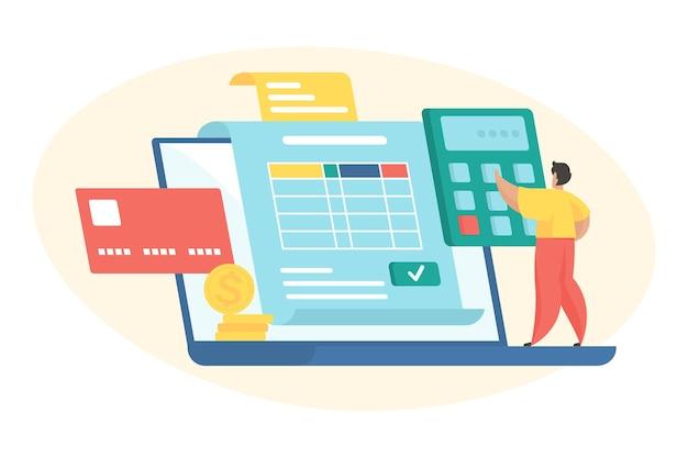 Budgetplanning platte vectorillustratie. klein mannelijk stripfiguur dat op een enorme laptop staat en het budget berekent. financieel management. persoonlijke spaarcontrole