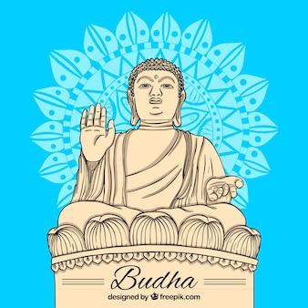Budha-standbeeld met hand getrokken stijl