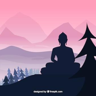Budha-standbeeld met silhouetstijl