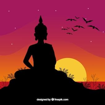 Budha-vertegenwoordiging met silhouetstijl