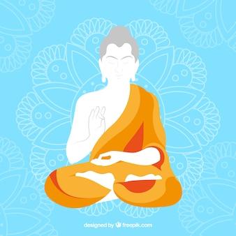Budha-voorstelling met plat ontwerp