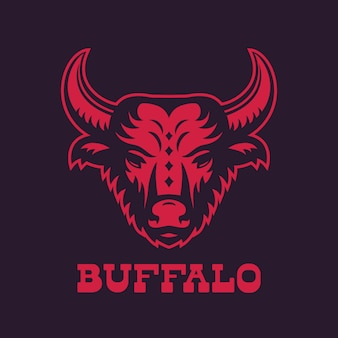 Buffalo, bull head logo-element, rood op donker
