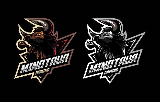 Buffalo minotaur-mascotte voor het logo van het esport- en sportteam