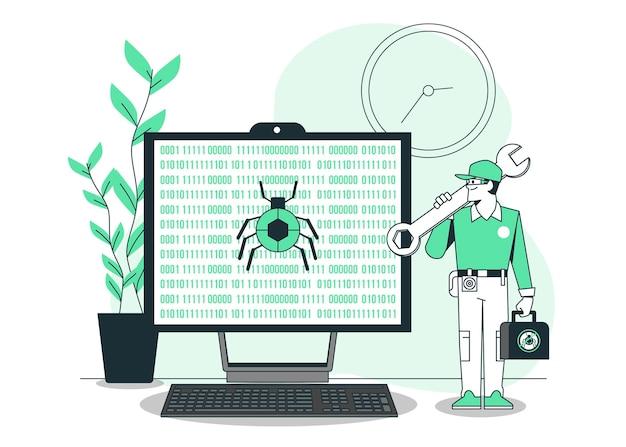 Bug vaststelling concept illustratie