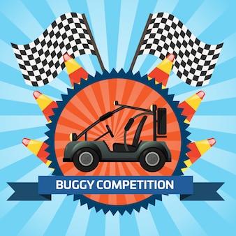 Buggy auto competitie banner met geruite vlag
