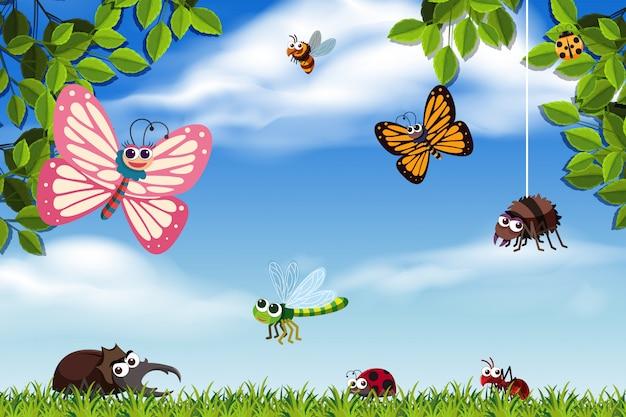 Bugs in natuurscène