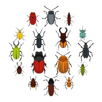 Bugs instellen plat pictogrammen
