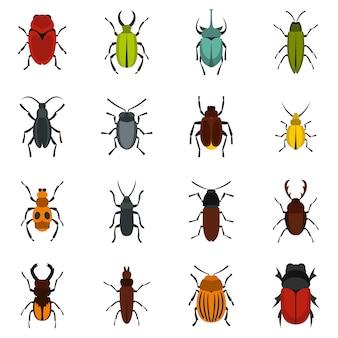 Bugs instellen platte pictogrammen