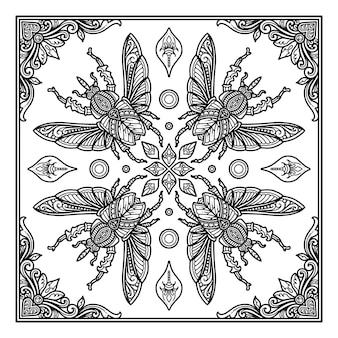 Bugs mandala-ontwerp voor print van bandana of t-shirtontwerp