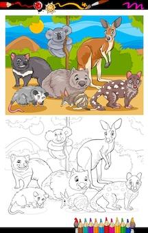 Buideldieren dieren cartoon kleurboek