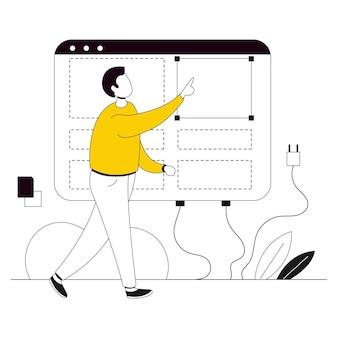 Buiding layout website illustratie flat line