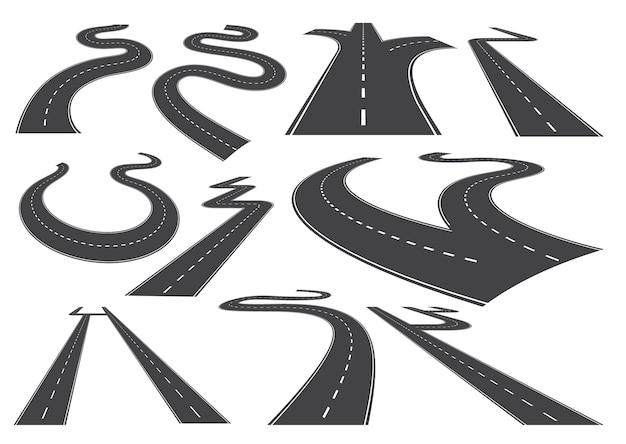 Buigende wegen, snelwegen of wegen.