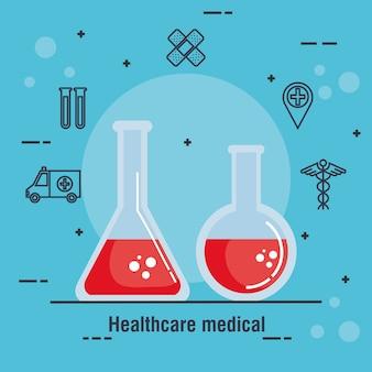 Buis test gezondheidszorg medische pictogrammen