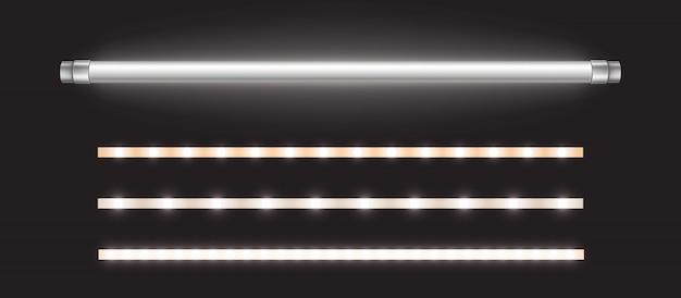 Buislamp en ledstrips, lange fluorescentielamp