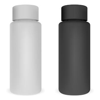 Buisvormige cosmetische flessenset. cilinderblik