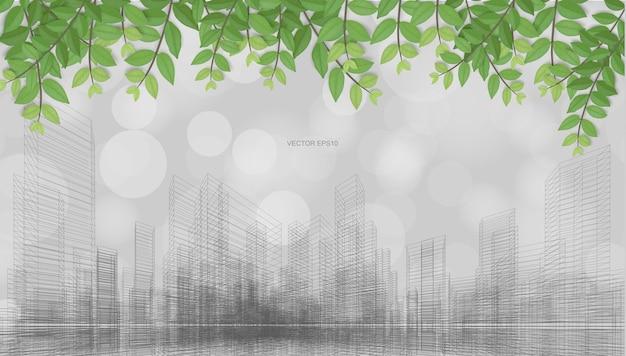 Buiten abstracte achtergrond van wireframe perspectief rendering met groene bladeren en licht wazig bokeh achtergrond. vector illustratie.