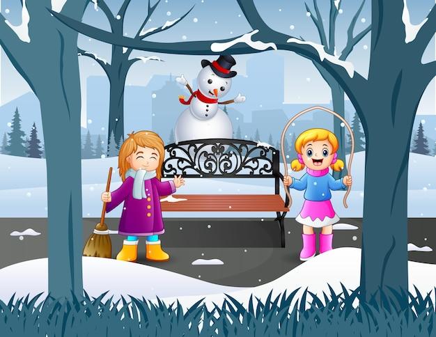 Buiten activiteit de kinderen in wintertijd illustratie