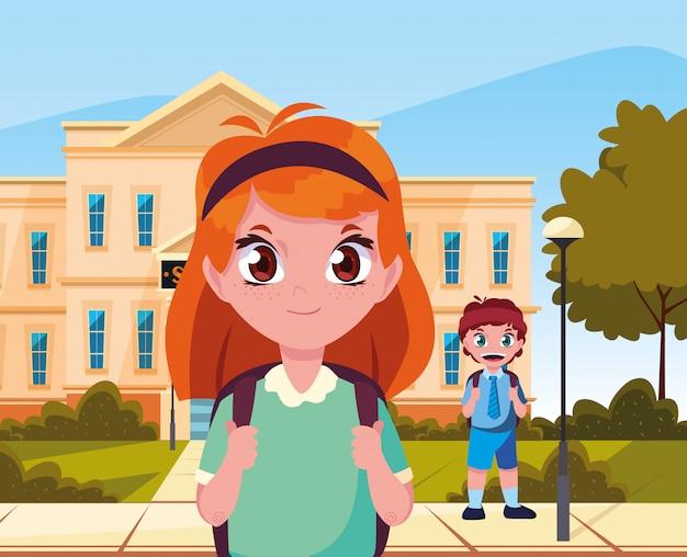 Buiten bouwen jongen en studente terug naar school