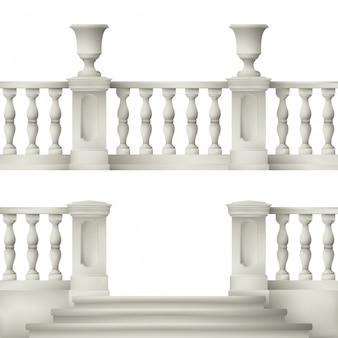 Buiten- en parkelementen: balustrade, decoratieve vaas, set landschapselementen