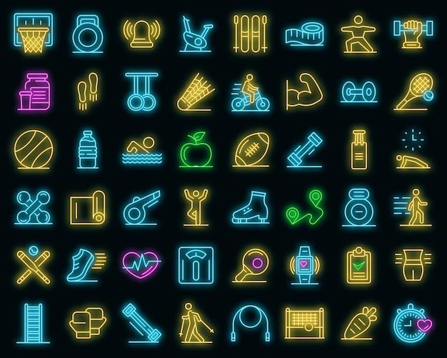 Buiten fitness pictogrammen instellen. overzicht set van outdoor fitness vector iconen neoncolor op zwart